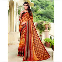 Yellow and Brown Mineral Chiffon Saree