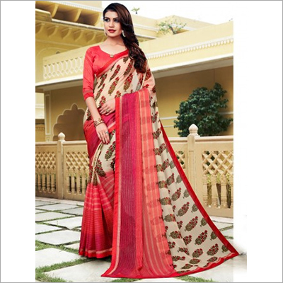 Beige and Peach Floral Print Mineral Chiffon Saree
