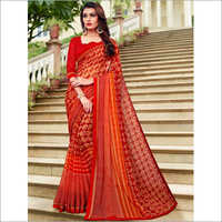 Red and Orange Mineral Chiffon Saree