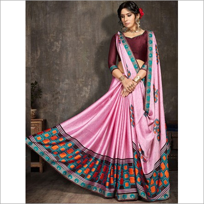 Pink Moss Chiffon Party Wear Saree