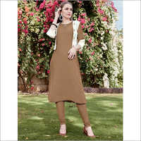 Brown Pure Rayon Jacket Kurti
