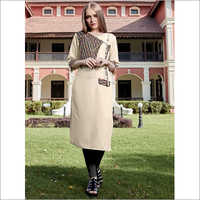 Cream Pure Rayon Jacket Kurti