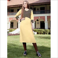 Yellow Pure Rayon Jacket Kurti