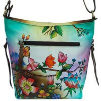 New Leather Hand Painted Sling Crossbody Shoulder Bag Design Sitting Peacock