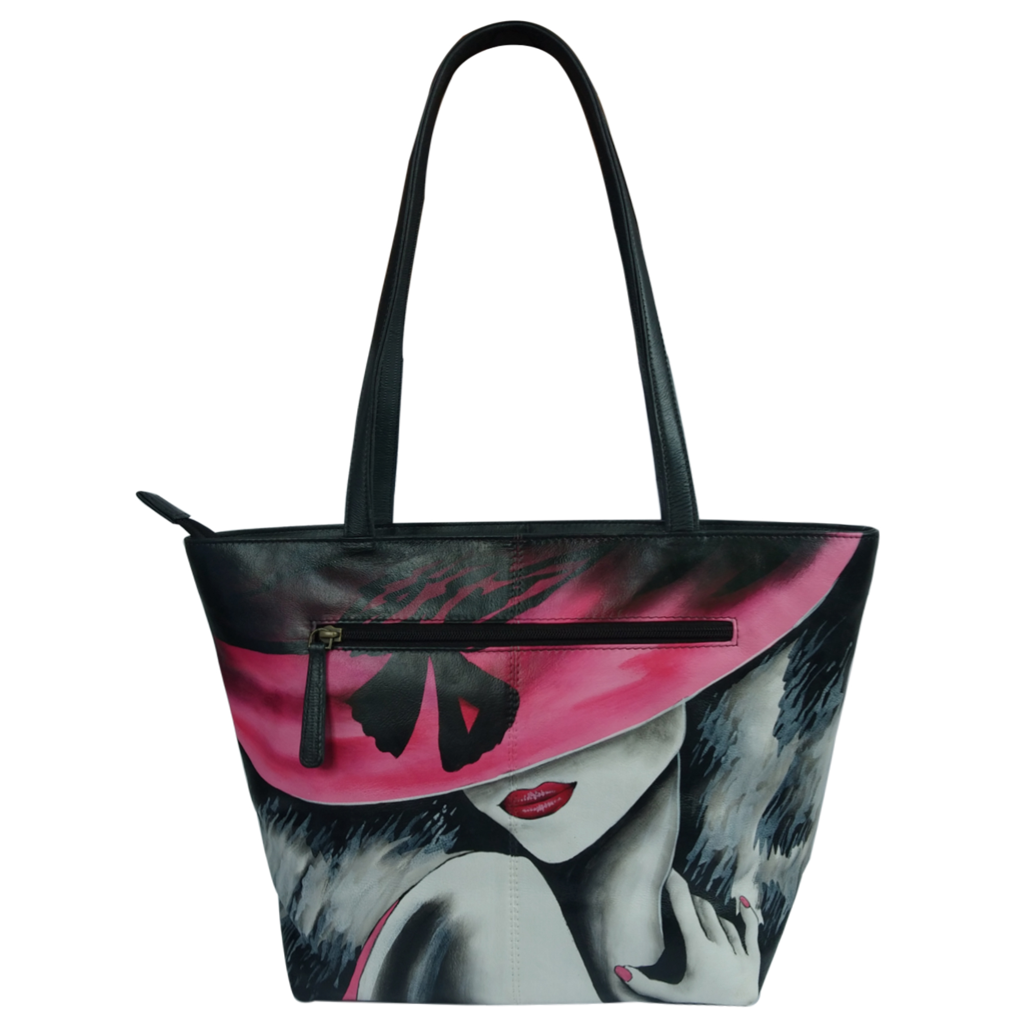 New Leather Hand Painted Tote Shoulder Bag
