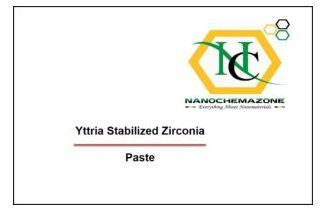 Yttria Stabilized Zirconia Paste