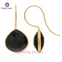 Natural Black Onyx Faceted 925 Silver  Earring