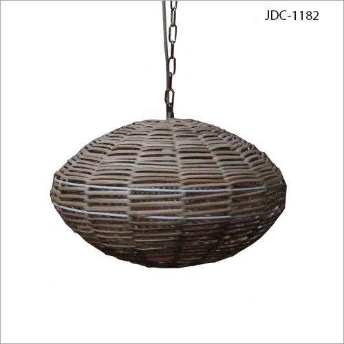 Cane Hanging Round Lamp
