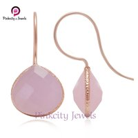 Hot Chalcedony Faceted 925 Silver Earring