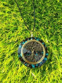 New Orgone Black Tourmaline And Turquoies With Tree of Life Logo Pendant