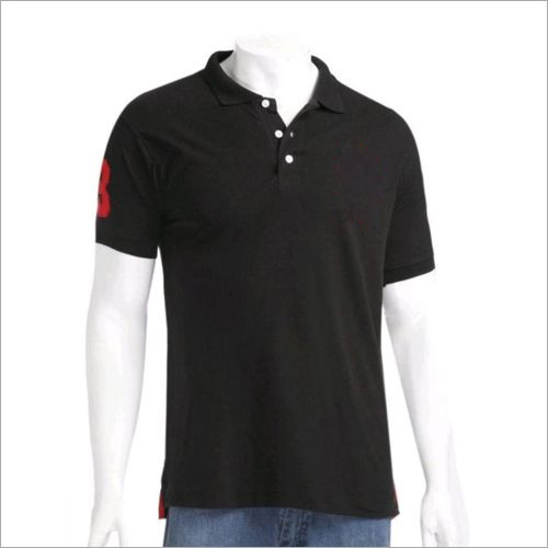 Mens Black Collared T-Shirt