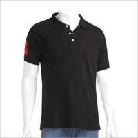 Mens Black Collared T-Shirt