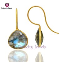 Natural Labradorite Faceted Heart Shape Earring 925 Sterling Silver Jewelry