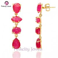 Hot Sale Ruby Faceted Gemstone Earring 925 Sterling Silver Jewelry