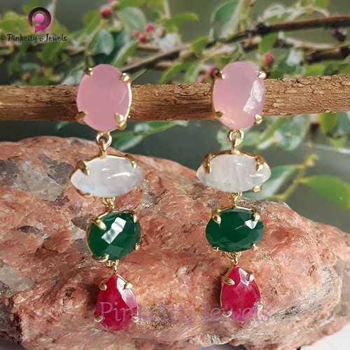 Beautiful Multi Gemstone 925 Silver Earring