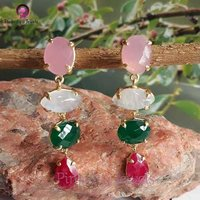 Beautiful Multi Gemstone 925 Silver Earring
