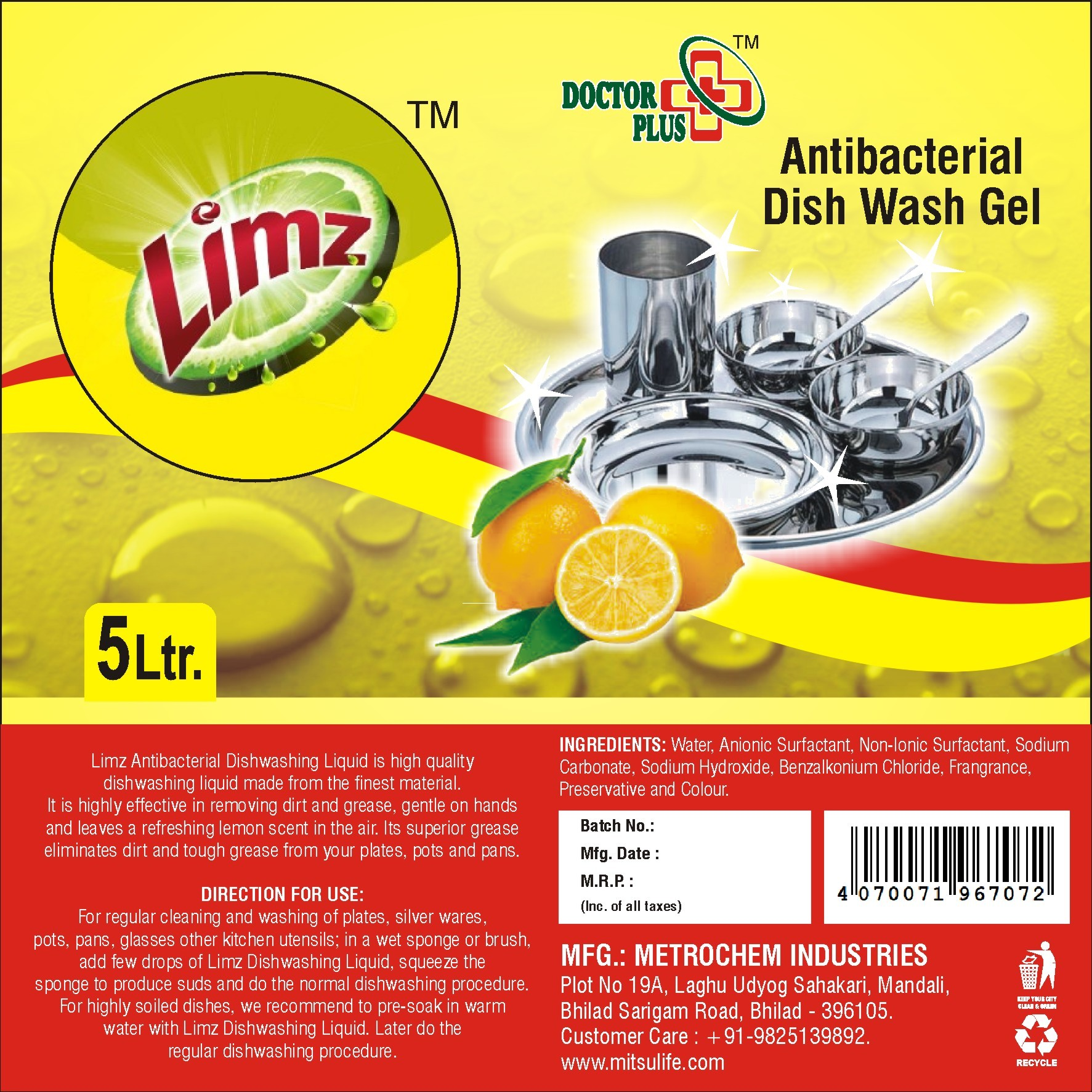 Limz Antibacterial Dishwash Gel