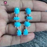 Beautiful Turquoise 925 Silver Stud Earring
