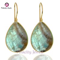 Natural Labradorite Faceted 925 Sterling silver Earring