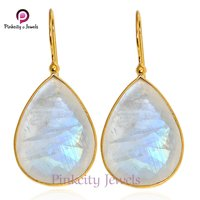 Natural Faceted Rainbow Moonstone 925 Sterling Silver Earring