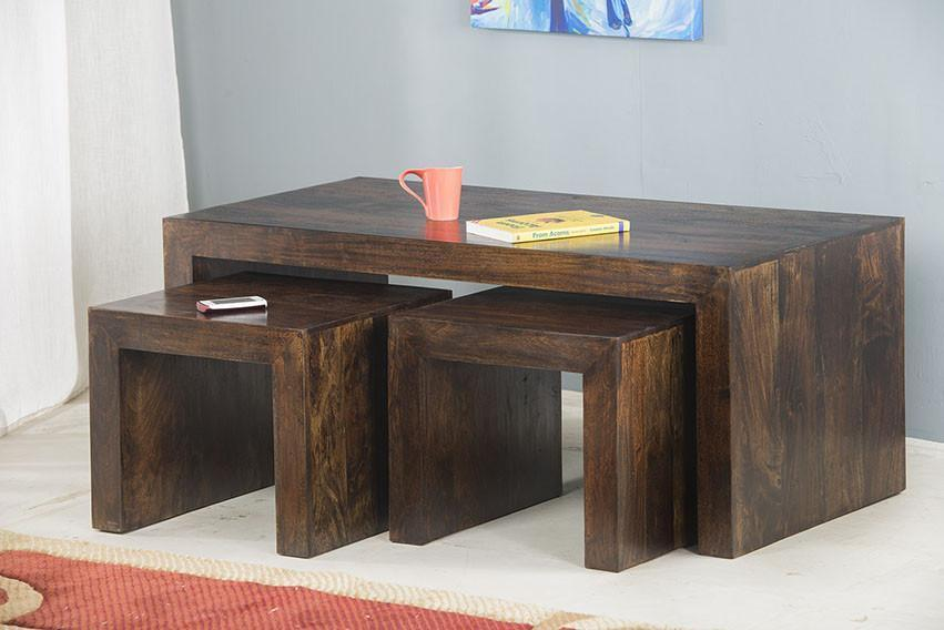 Solid wood center coffee table set 3 Armor