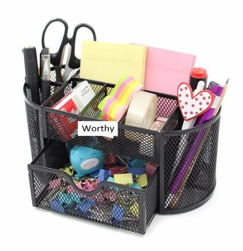 Mesh Desk Organizer Office Supplies Caddy with Drawer,Black