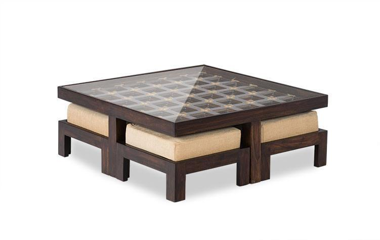 Solid wood center coffee table Set Monarch