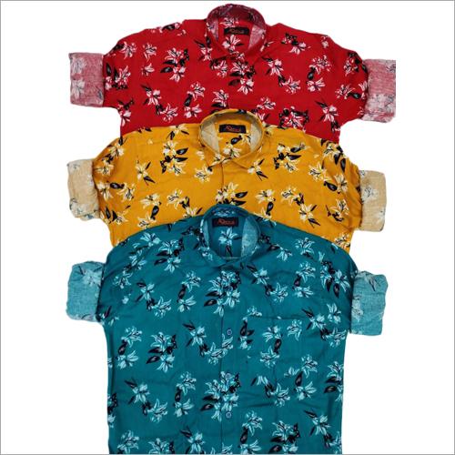 Mens Floral Printed Fullsleeve Shirt