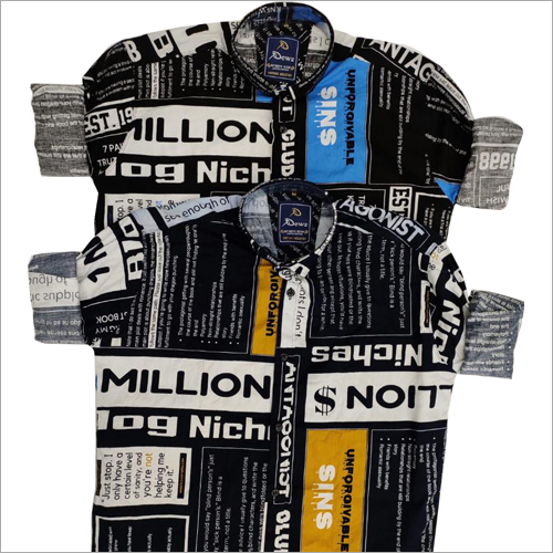 Mens Newspaper Print Shirt