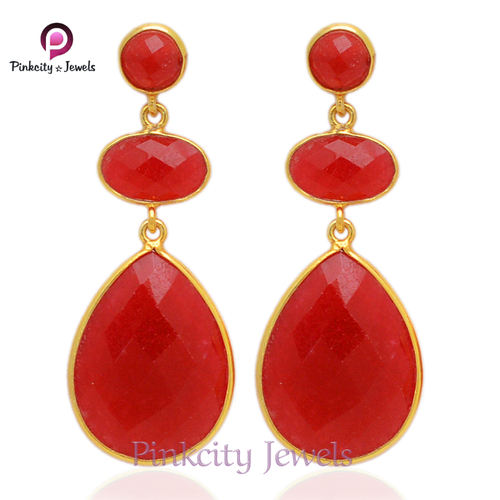 Ruby Faceted 925 Silver Earring