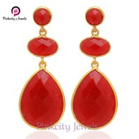 Hot Beautiful Ruby Faceted 925 Silver Earring