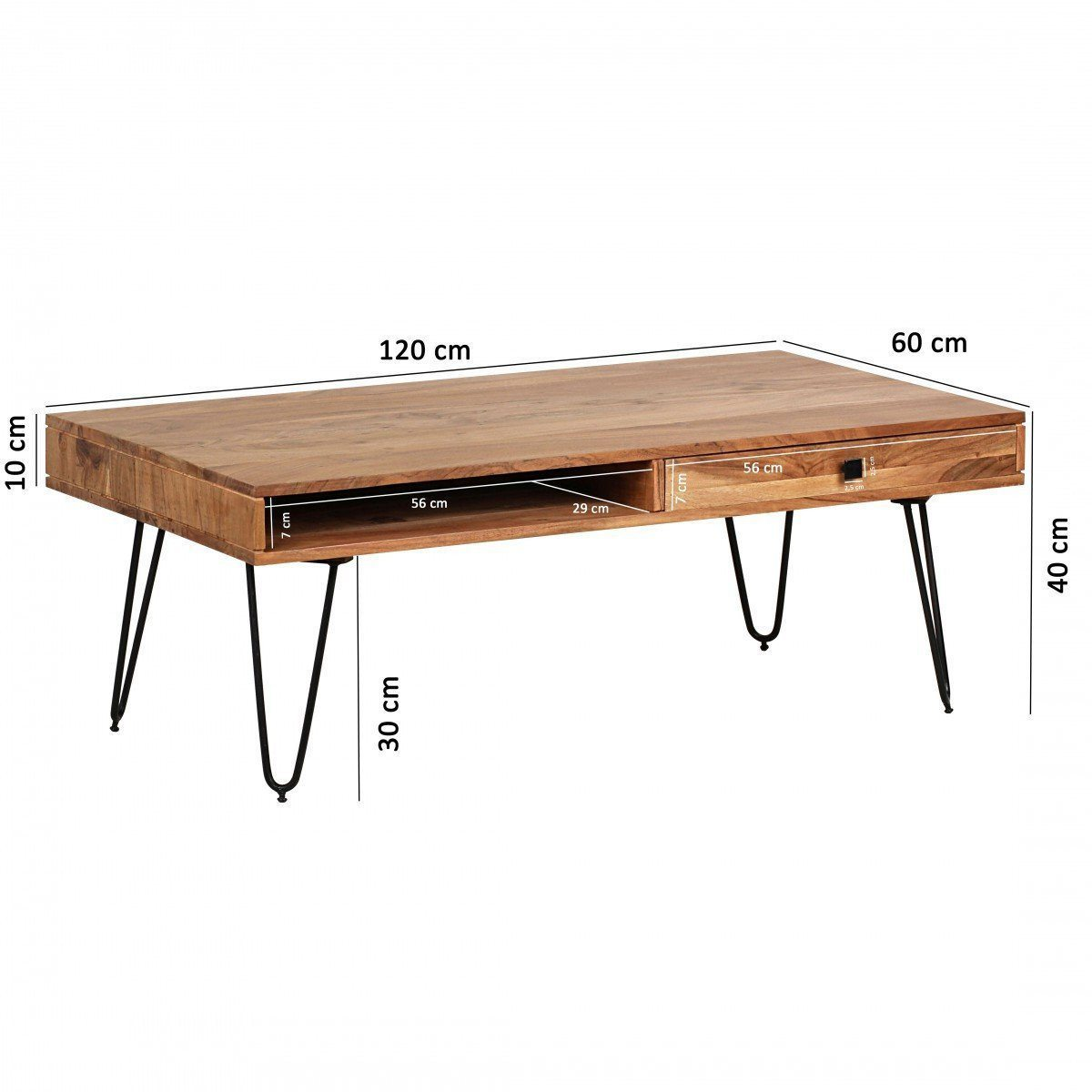 wooden Center coffee table 2 way drawers