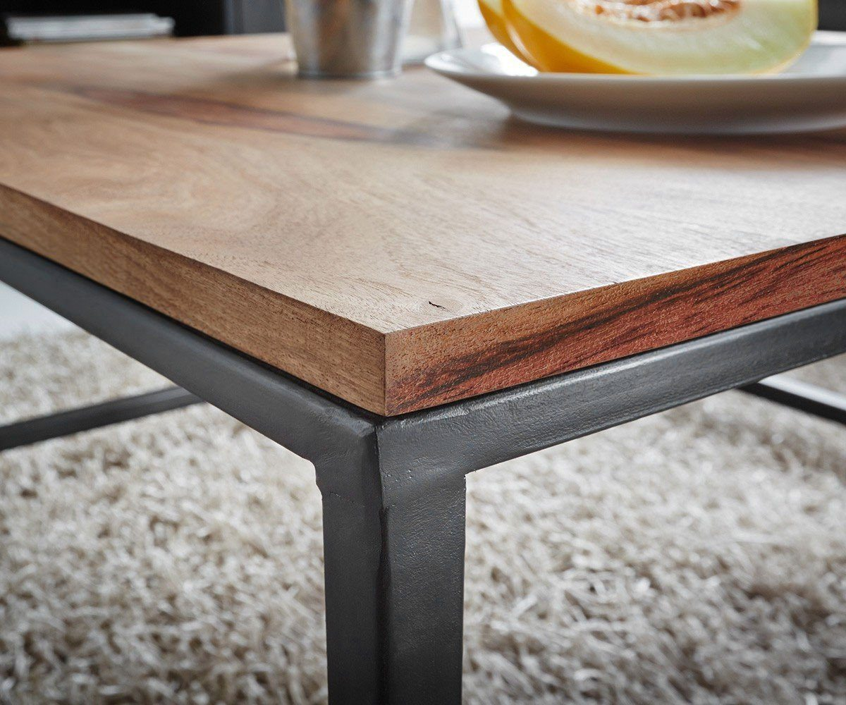 Wooden Center Coffee table Iron base Fossil