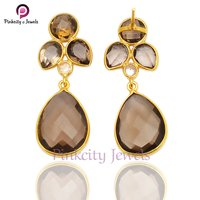 Natural Smoky Quartz Faceted Gemstone 925 Silver Earring