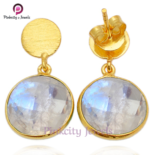 Natural Rainbow Moonstone 925 Silver Earring