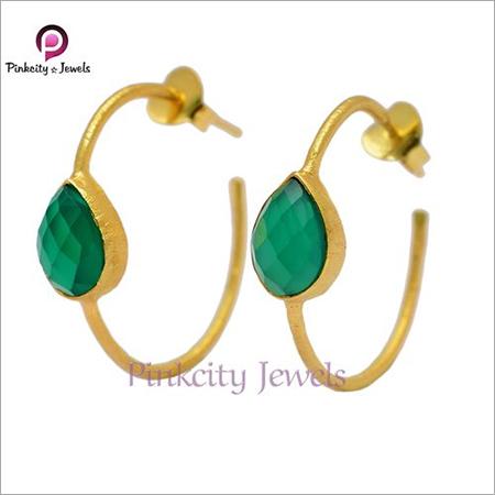 Natural Green Onyx 925 Silver Stud Bali Earring