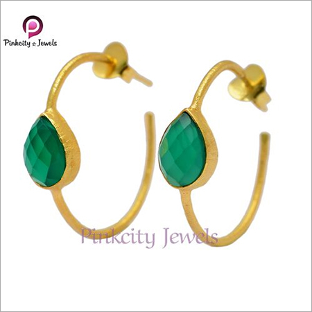Natural Green Onyx Faceted 925 Silver Stud Bali Earring