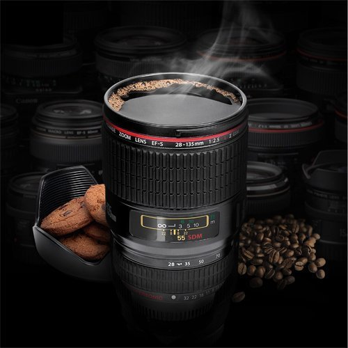 Camera Lens Cup, Coffee Mug with Transparent Lid Camera Lens Cup Stainless Steel Caniam 24-105mm Biscuit Holder