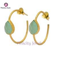 Aqua Chalcedony Faceted 925 Silver Bali Earring
