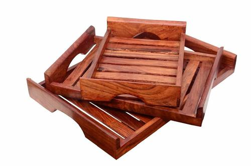 Wooden Serving Trays with Handle – Set of 3 – Large, Medium and Small Nesting Serving Trays - for Breakfast, Coffee Table/Butler Serving Trays – Multipurpose Beautiful Bed Serving Trays