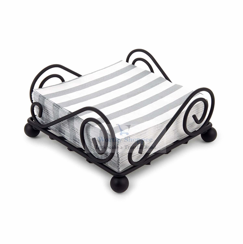Square Decorative Wrought Iron Tissue Holder Napkin Holder Stand