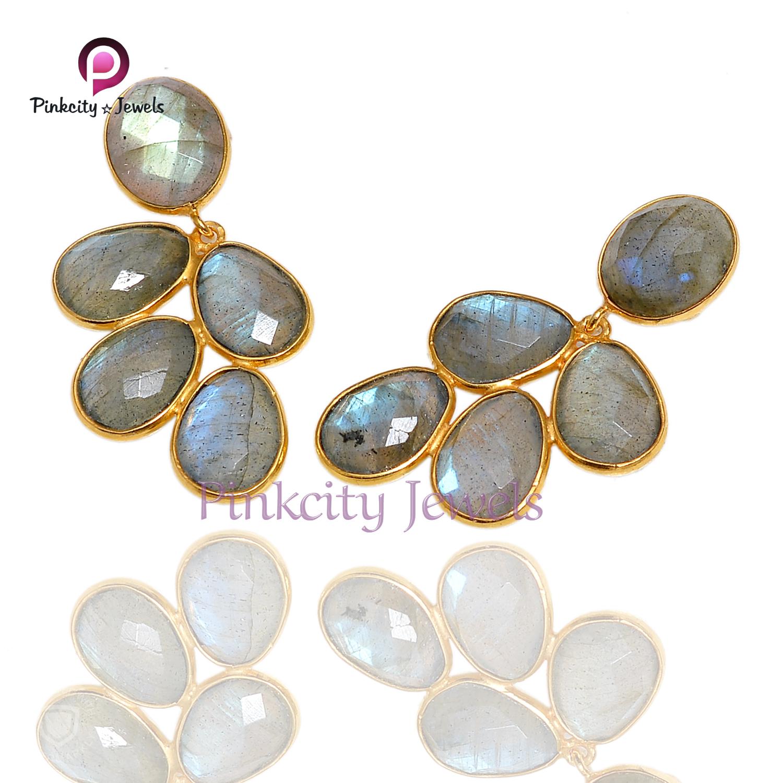 Natural Labradorite 925 Silver Earring