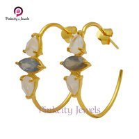 Natural Multi Gemstone 925 Silver Earring