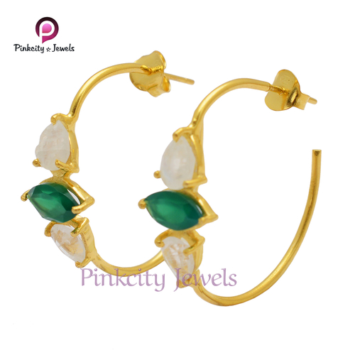 Natural Multi Gemstone 925 Silver Earring