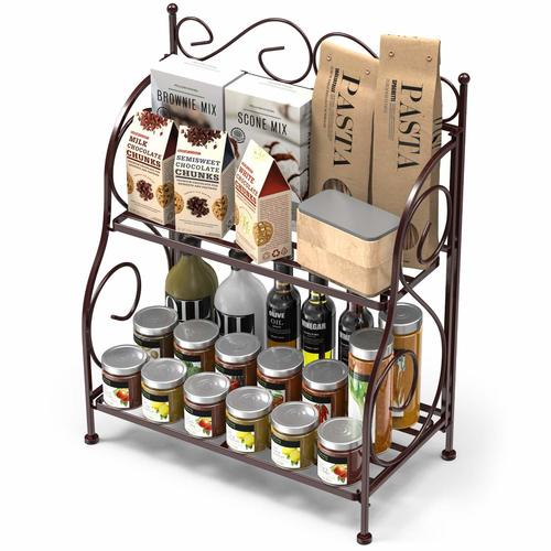 2 Tier Kitchen Spice Rack Shelf Organizer, Bronze