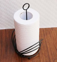 Wrought Iron Kitchen, Toilet Tissue Roll Dispenser Napkin Holder Flower Design (Black)