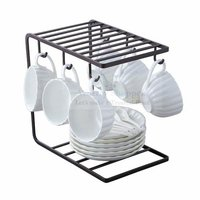 Coffee Mug Cup Holder Cup and Plate Stand with 6 Hooks for Large Mug - 9.5 x 9.1Inch (Black)