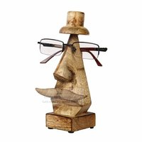 Wooden Hand Carved Eyeglass Nose Shaped Spectacle Holder Stand Display Stand Home Decor (Moustache & Hat)