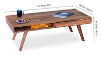 Solid wood Center coffee table with 2 way drawer