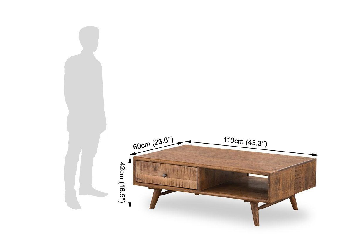 Solid wood Center coffee table with drawer Compact